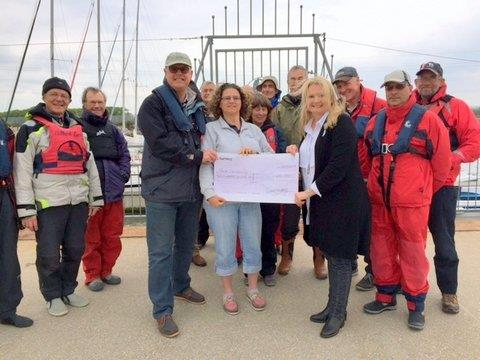 Money raised for local Charity 'Poole Sailability' presented last night!